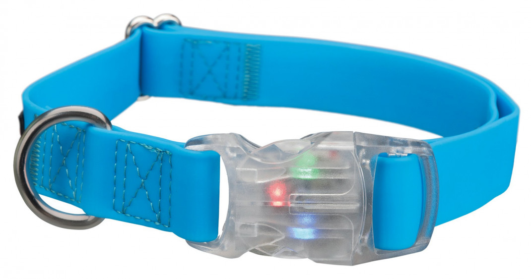 Trixie Collar Easy Flash USB Azul claro S-M
