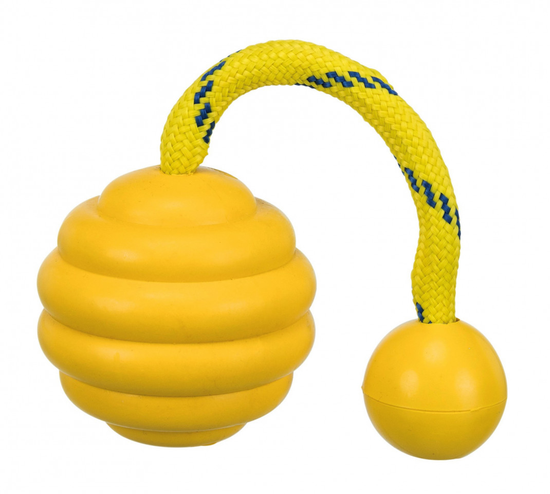 Trixie Sporting Wavy Ball on a Rope, Natural Rubber and Polyester